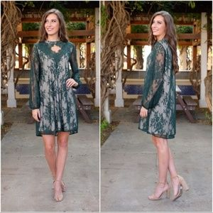 LAST ONE! Emerald Lace Long Sleeve Holiday Dress